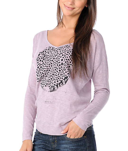 Volcom Hawt Dots Heather Pink Long Sleeve Shirt