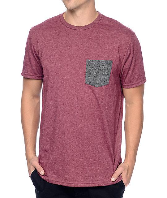 Volcom Heather Twist Burgundy Pocket T-Shirt