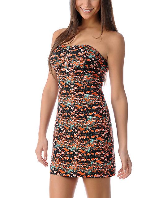 Volcom Hey Poppy Coral & Black Tube Dress
