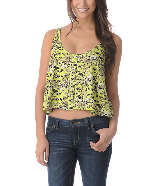 Volcom Hey Poppy Lime Green Crop Tank Top