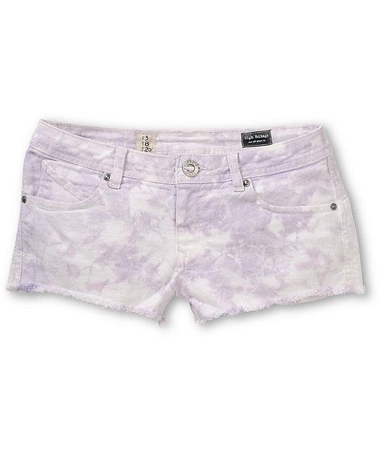 Volcom High Voltage Lavender Tie Dye Cut Off Shorts
