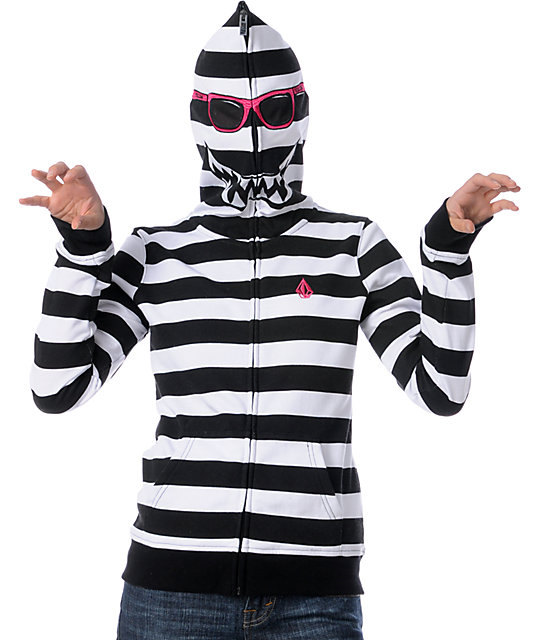 Volcom Highwear Black & White Full Zip Face Mask Hoodie