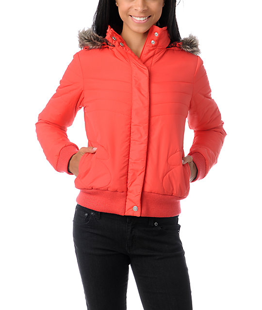 Volcom Hot Mitts Red Puffy Bomber Jacket