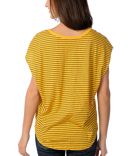 Volcom Hug Me Yellow Stripe Sleeveless Circle Shirt