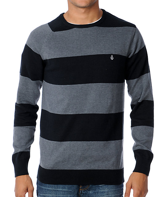 Volcom Innercircle Black Striped Crew Neck Sweater