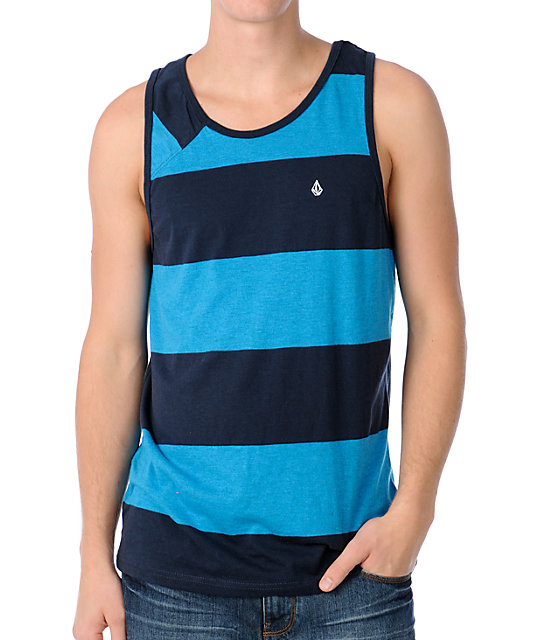 Volcom Innercircle Turquoise Stripe Guys Tank Top