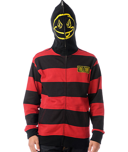 Volcom Inyoface Red Stripe Full Zip Face Mask Hoodie