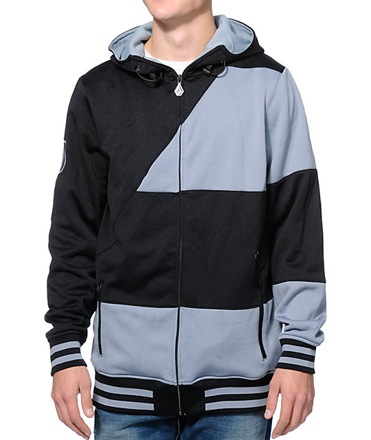 Volcom Johnny Black & Grey Tech Fleece Hooded Jacket