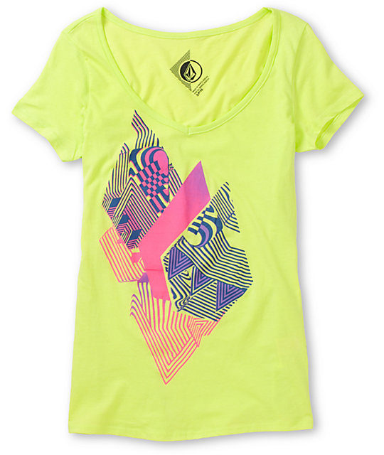 Volcom Litterstone Neon Green V-Neck T-Shirt