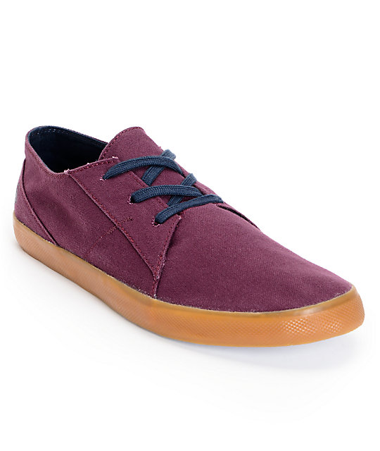 Volcom Lo Fi Burgundy & Gum Canvas Shoes