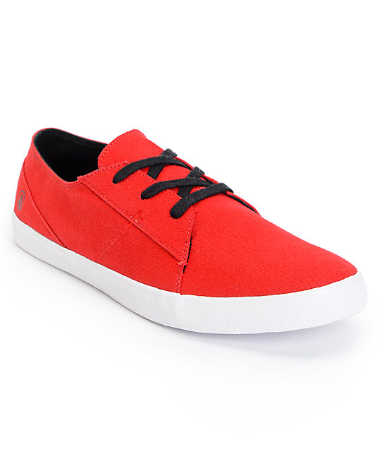Volcom Lo Fi Red & White Canvas Shoes