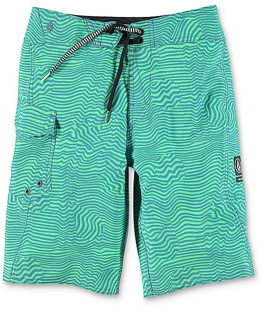 Volcom Magnetic Stone Boys Green Boardshorts