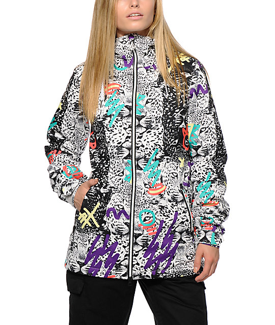 volcom magnum leopard print 10k insulated snowboard jacket zumiez. Black Bedroom Furniture Sets. Home Design Ideas