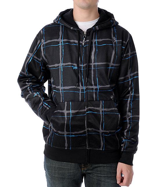 Volcom Maguro Black Plaid Tech Fleece Jacket