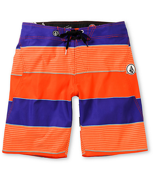 Volcom Maguro Stripe Orange & Purple 20 Board Shorts