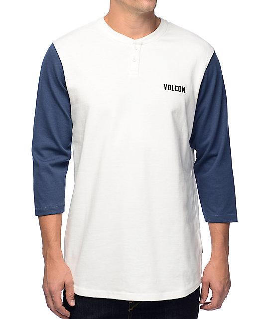 Volcom Matthews White & Blue Henley Baseball T-Shirt