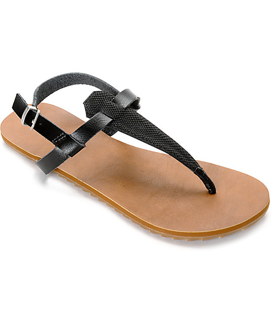 Volcom Maya Black & Tan Leather Sandals