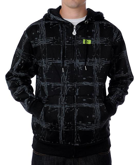 Volcom Megiera Black Plaid Tech Fleece Jacket