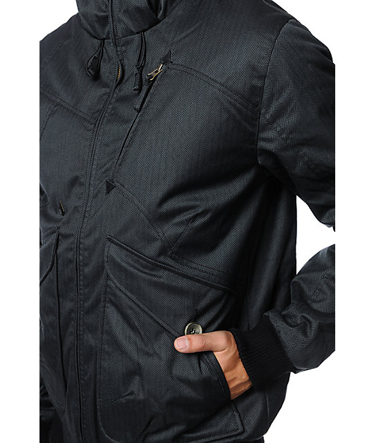 Volcom Mens Cavalier 2 Black Herringbone Jacket