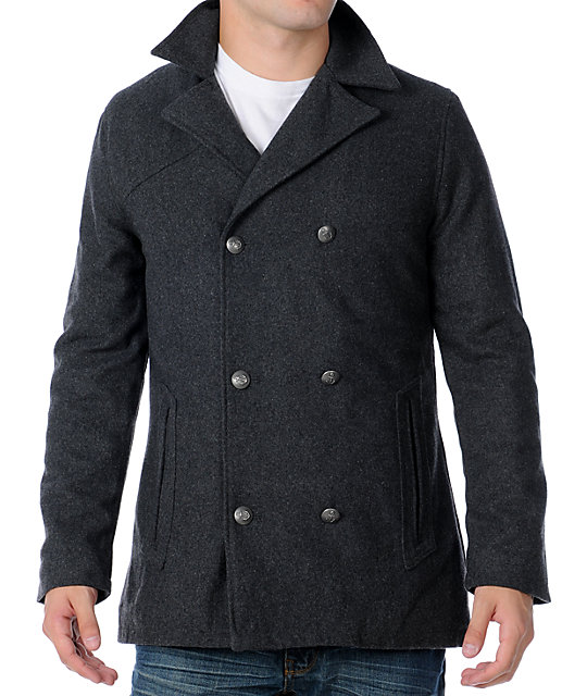 Volcom Mens Grad Grey Pea Coat Jacket