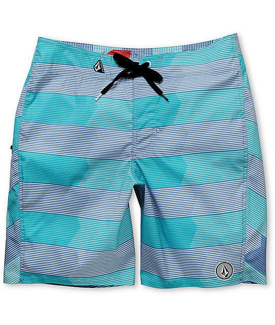 Volcom Mens V6S 20 Stripe Aqua Board Shorts