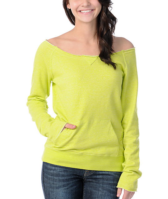 Volcom Moclov Lime Green Pullover Sweatshirt