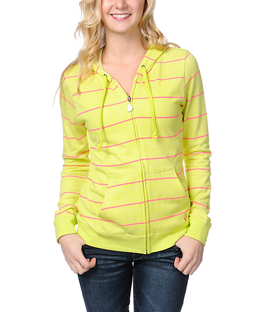 Volcom Moclov Striped Neon Lime Zip Up Hoodie