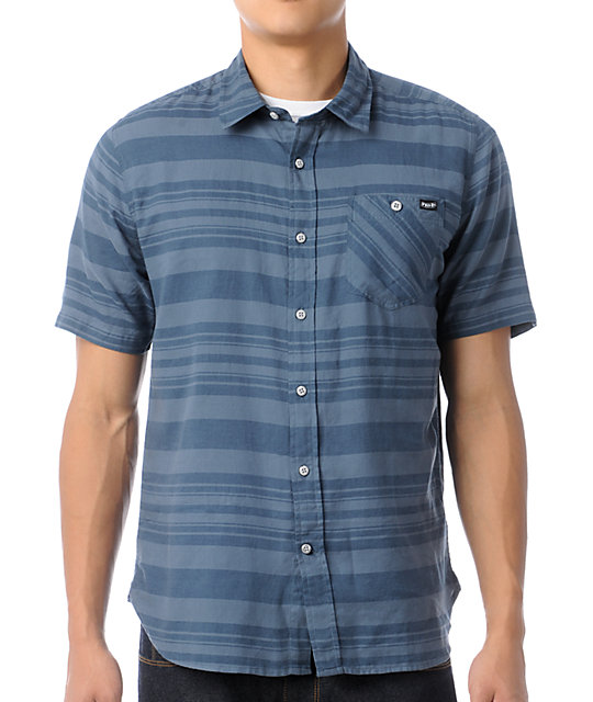Volcom Moonage Blue Stripe Short Sleeve Button Up Shirt