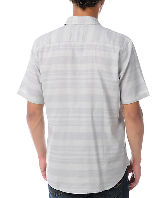 Volcom Moonage Grey Stripe Short Sleeve Button Up Shirt