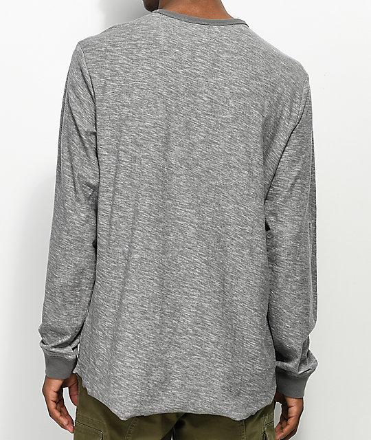 Volcom Moxee Light Grey Long Sleeve Henley T-Shirt | Zumiez