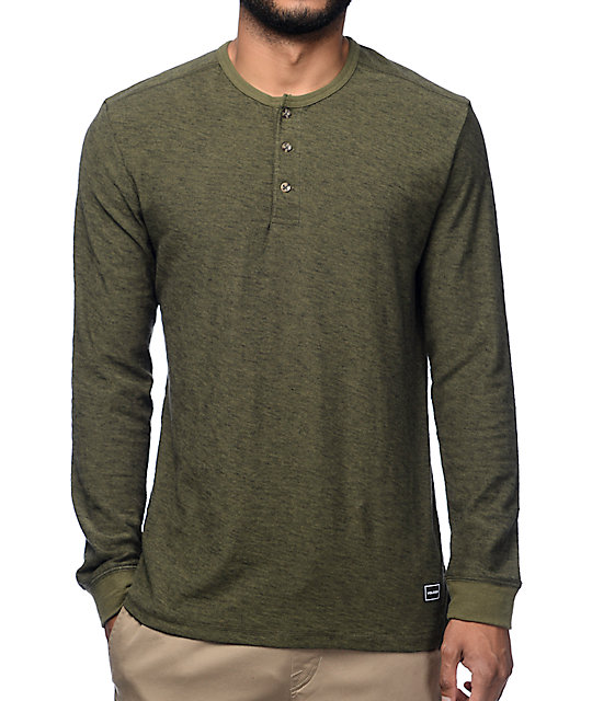Volcom Moxee Olive Long Sleeve Henley Shirt