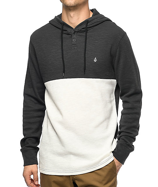 Volcom Murphy Charcoal & White Thermal Henley Shirt