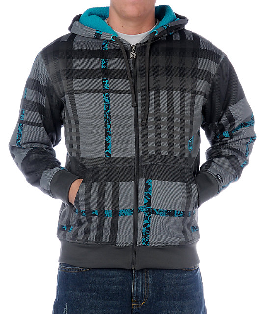 Volcom News Plaid Grey Tech Fleece Jacket