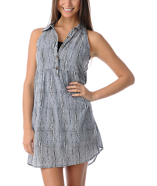 Volcom Not So Classic Bare Black & White Dress