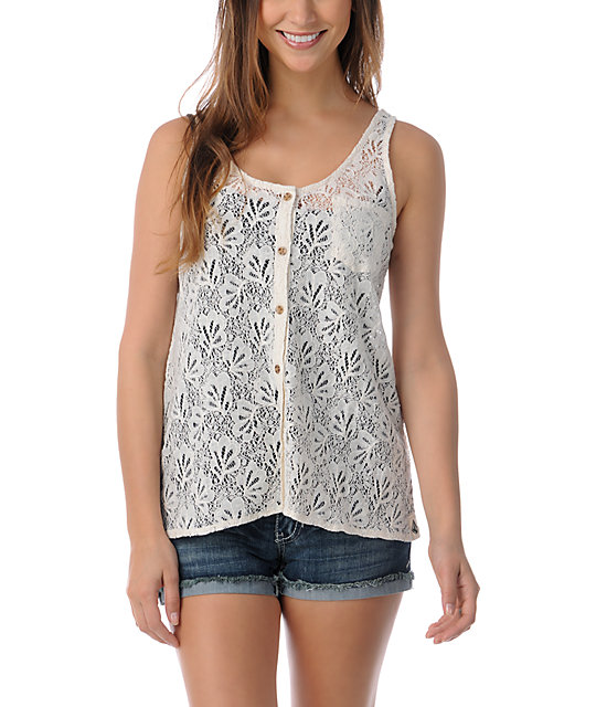 Volcom Not So Classic Cream Lace Tank Top