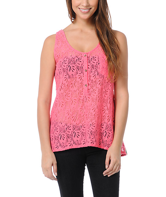 Volcom Not So Classic Pink Lace Tank Top
