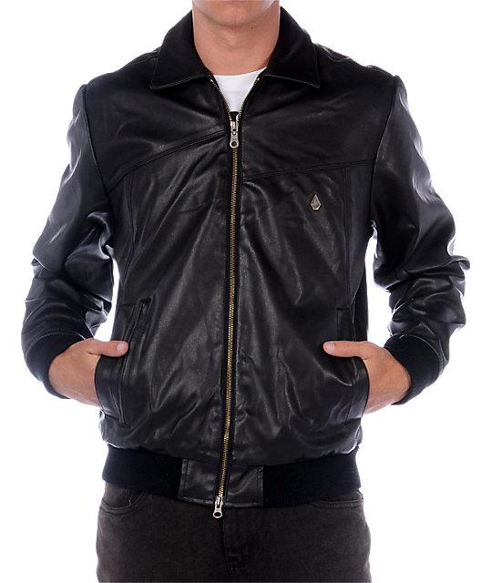 Volcom Obi Black Faux Leather Jacket