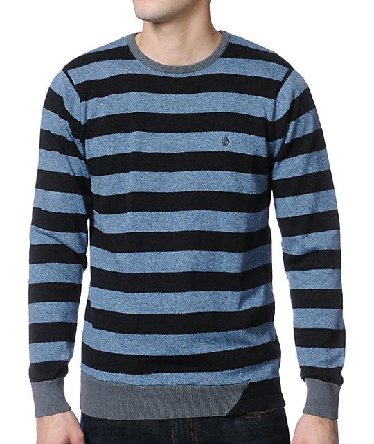Volcom Othercircle Blue & Charcoal Crewneck Sweater