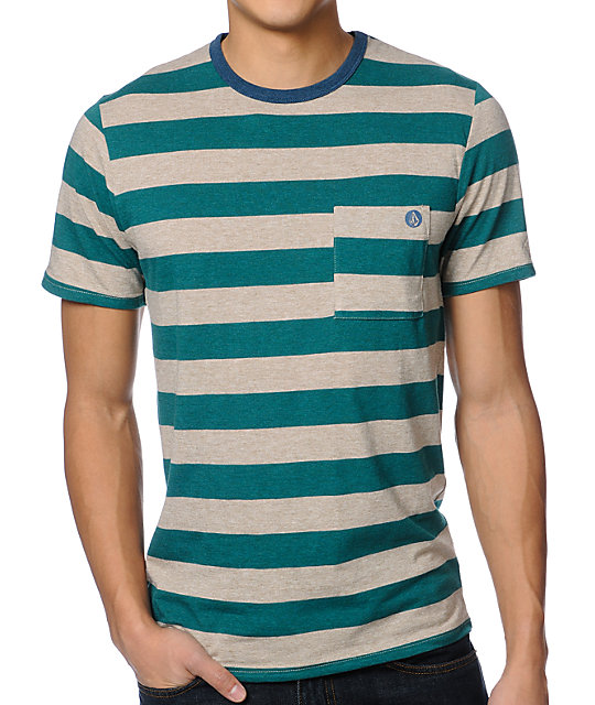 Volcom Othercircle Green Striped Crew Neck Knit Shirt