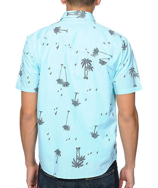 Volcom Palms Aqua Print Short Sleeve Woven Shirt