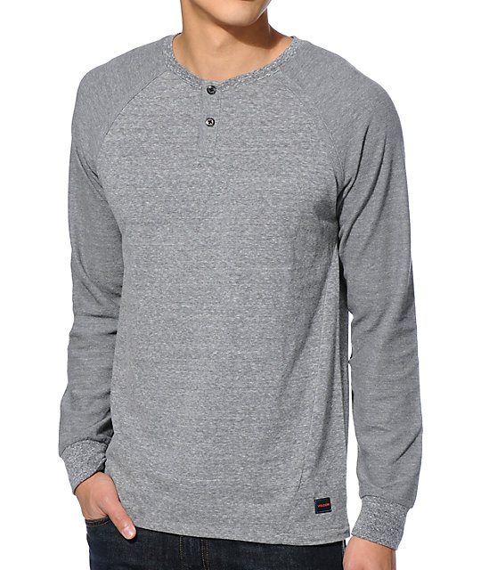 Pire Grey Raglan Henley Long Sleeve Shirt