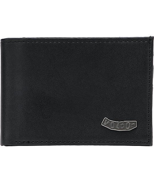 Volcom Pistol Black Leather Bifold Wallet