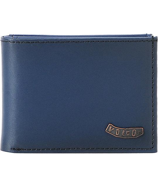 Volcom Pistol Navy Blue Leather Bifold Wallet