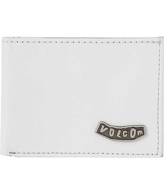Volcom Pistol White Leather Bifold Wallet