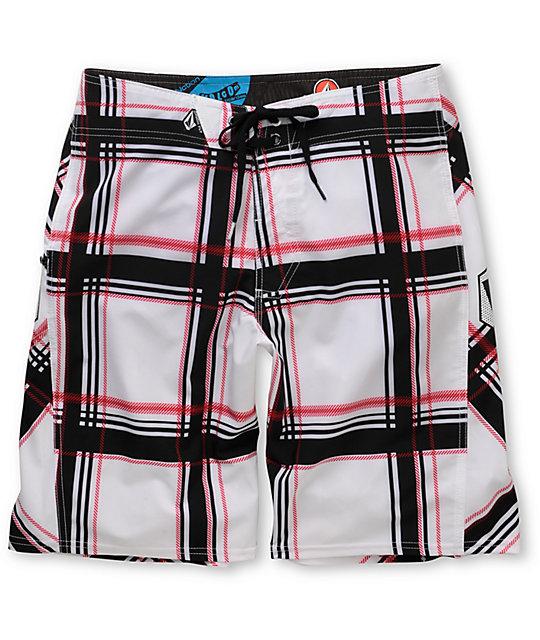 Volcom Plaiter White Plaid 21 Board Shorts