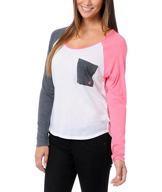 Volcom Pocket Block White, Pink & Grey Raglan Shirt