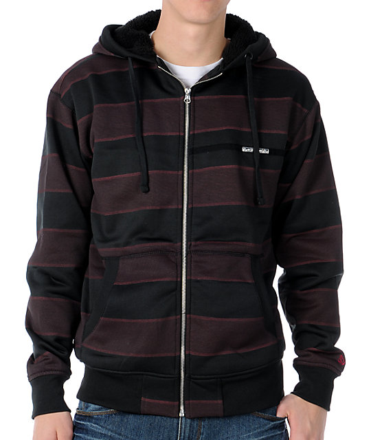 Volcom Pockito Black Stripe Hydro Sherpa Zip Tech Fleece