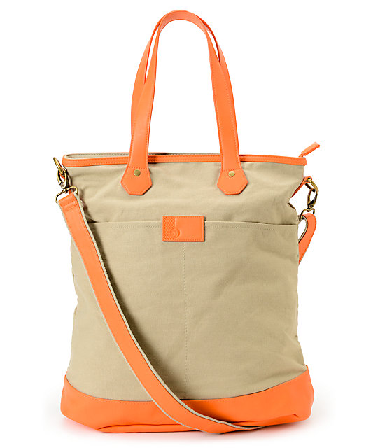 Volcom Quite A View Khaki & Orange Tote Bag