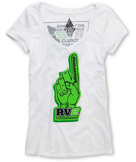Volcom RV2 Champ White V-Neck T-Shirt