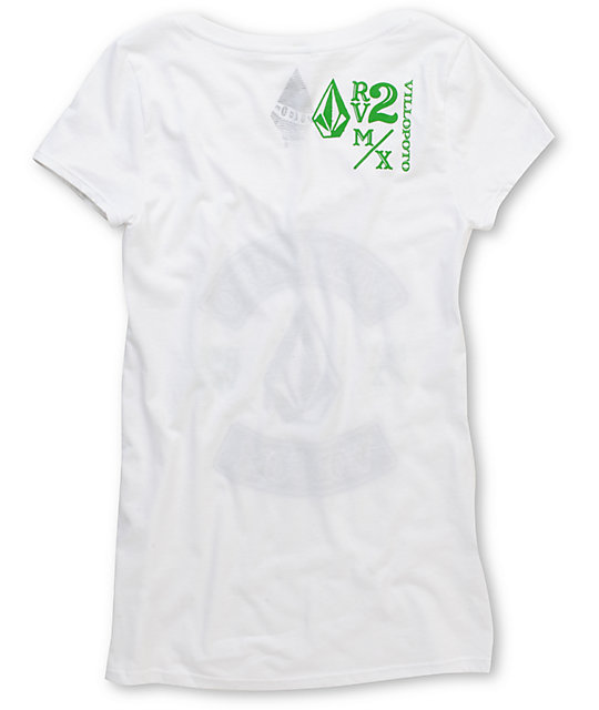 Volcom RV2 Rolling Thunder White V-Neck T-Shirt